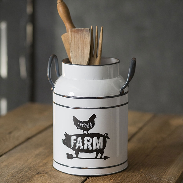 CTW Home Collection 'Fresh Farm' White-Enameled-Metal Milk Can