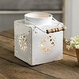 Metal Bennettsville Lantern w/ Punched Starburst Pattern & Wood Handle