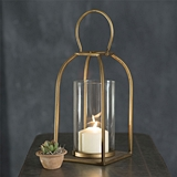 CTW Home Collection Small Tribeca Metal Lantern with Glass Chimney
