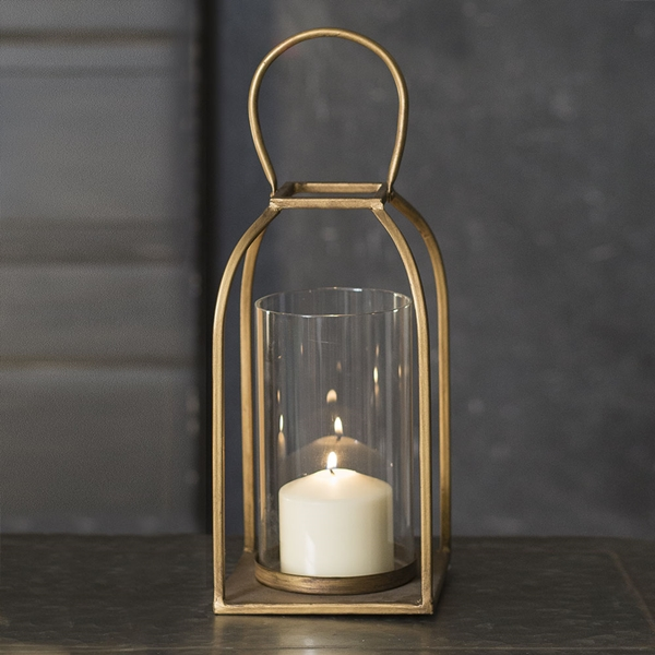 CTW Home Collection Large Tribeca Metal Lantern with Glass Chimney