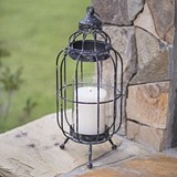 CTW Home Collection New Bern Pillar Candle Lantern with Hinged Door