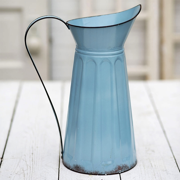 CTW Home Collection Blue-Enameled-Metal Tall Slender Pitcher w/ Handle