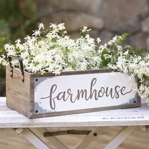 """CTW Home Collection Wood and Metal """"Farmhouse"""" Storage Box"""