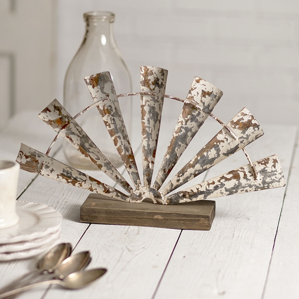 CTW Home Collection Metal and Wood Half-Windmill Centerpiece