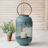 CTW Home Collection Antiqued-Blue-Metal Farah Lantern with Handle