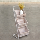 CTW Home Collection Metal-Framed Three Wood Bins Vertical Organizer