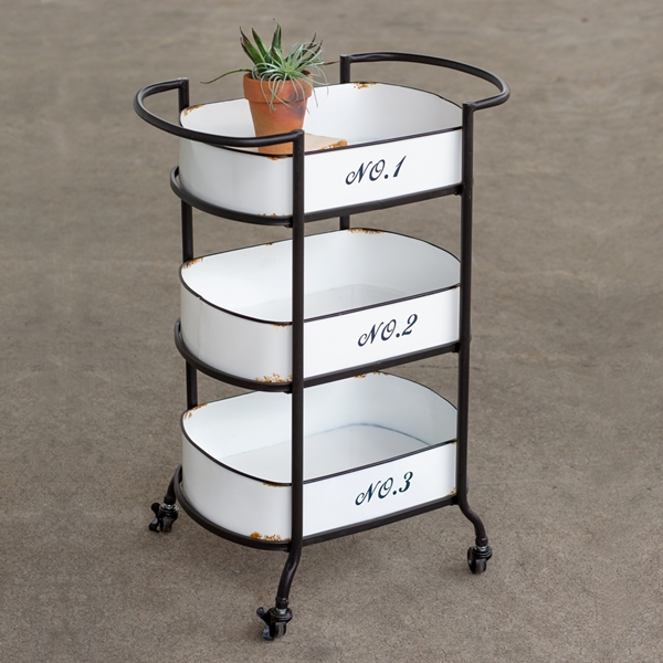 CTW Home Collection 3-Tier Metal Cart with Numbered Removable Trays