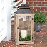 CTW Home Collection Large Rustic Wood & Glass Panes Lantern with Door