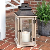 CTW Home Collection Small Rustic Wood and Glass Panes Lantern