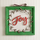 CTW Home Collection 'Joy' Chicken Wire Wall Sign with Bow and Wreath