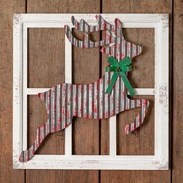 CTW Home Collection Leaping Reindeer Wall Decor in Metal and Wood