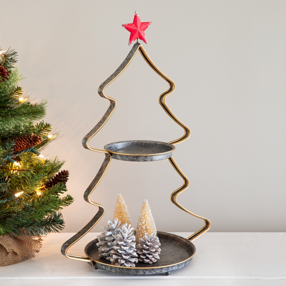 CTW Home Collection Two-Tier Christmas Tree Tray with Red Star at Top