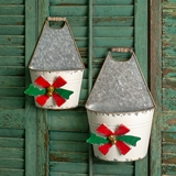 CTW Home Collection Set of Two Holiday Bow Galvanized-Metal Caddies