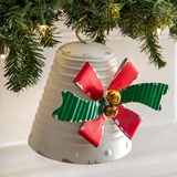 CTW Home Collection Small Antiqued Metal Holiday Bow Bell Ornament