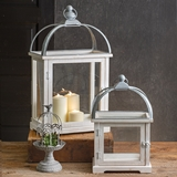 CTW Home Collection Set of Two Wood and Metal Lanterns with Latches
