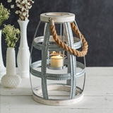 CTW Home Collection Wood and Metal Seaside Lantern with Rope Handle