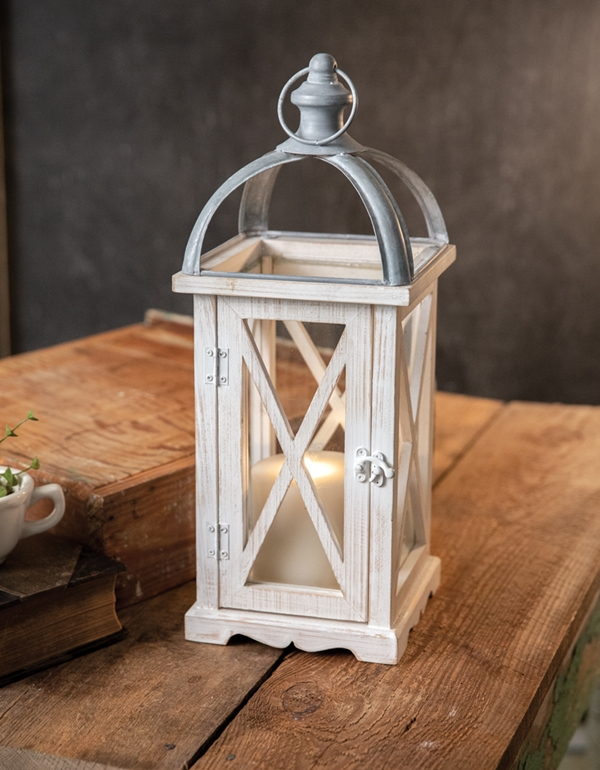 CTW Home Collection Wood and Metal St Claire Lantern with Hinged Door