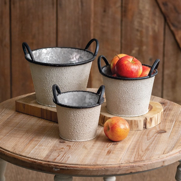 CTW Home Collection Three Ivory-Colored Textured Buckets with Handles