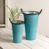 CTW Home Collection Set of Two Sky-Blue Textured Buckets with Handles