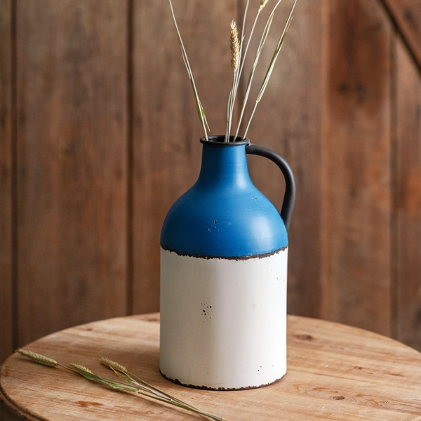 CTW Home Collection Royal Blue and White Enameled-Metal Farmhouse Jug
