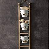 CTW Home Collection Hanging Wood Ladder with Numbered Enameled Buckets