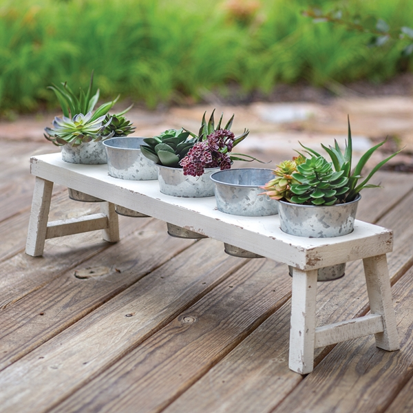 CTW Home Collection Distressed-White Wood Planter with 5 Metal Pots