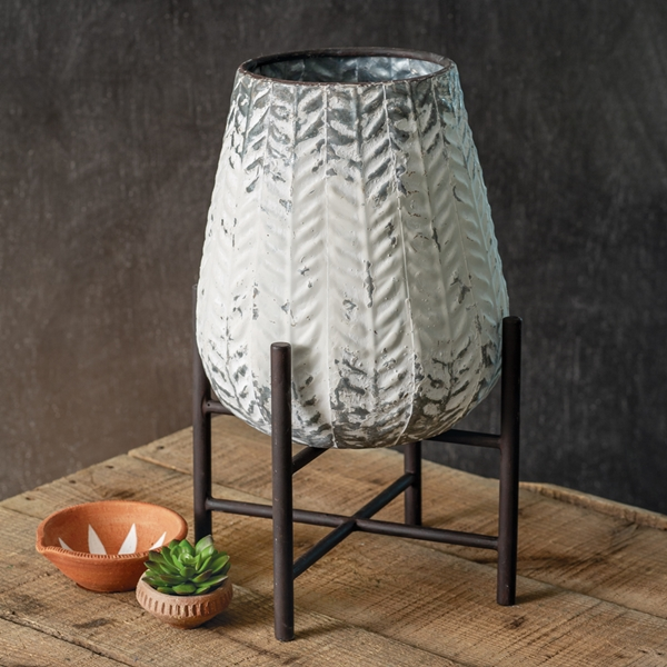 """CTW Home Collection Whitewash """"Maya"""" Planter with Stand"""