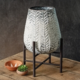 "CTW Home Collection Whitewashed-Metal ""Maya"" Planter w/ Stand"