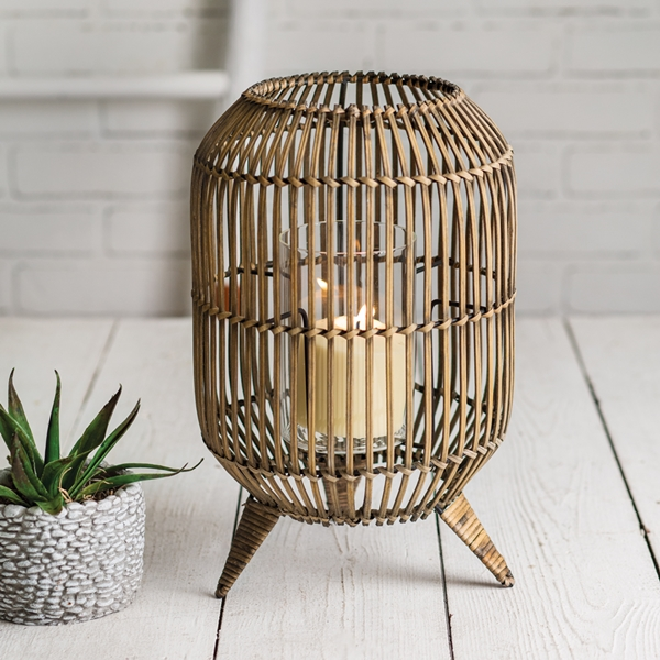 "CTW Home Collection Rattan ""Boho"" Lantern with Glass Chimney"