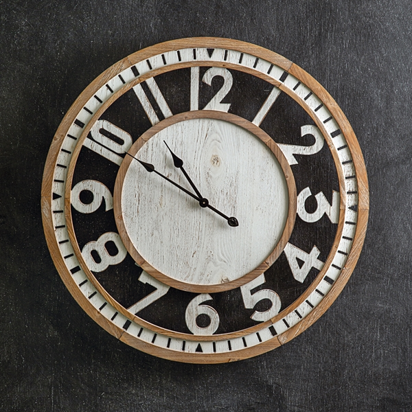 """CTW Home Collection Farmhouse Chic """"Langton"""" Wood Wall Clock"""