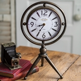 CTW Home Collection Metal and Glass Chaplin Tabletop Clock with Tripod