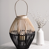 CTW Home Collection Two-Tone Rattan Wood Lantern with Glass Chimney