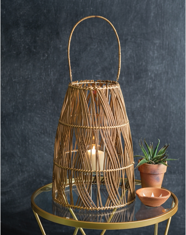 CTW Home Collection Large Rattan Bungalow Lantern with Glass Chimney