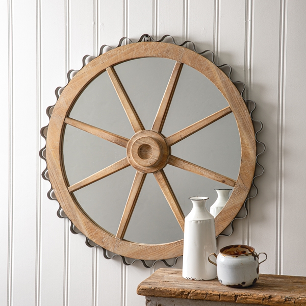 CTW Home Collection Wood and Metal Wagon Wheel Wall Mirror