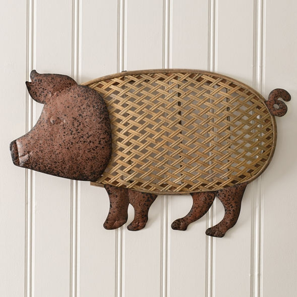 CTW Home Collection Rattan and Metal Pig Design Wall Decor