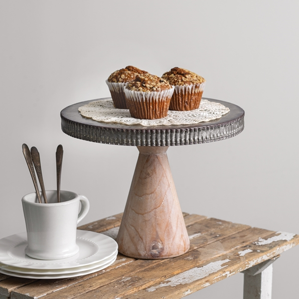 CTW Home Collection Ribbed-Edge Metal Dessert Stand with Wood Base