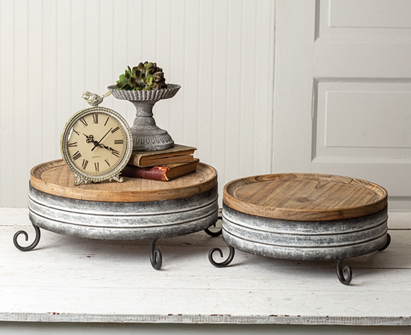 CTW Home Collection Set of 2 Round Wood & Metal Risers w/ Scroll Legs
