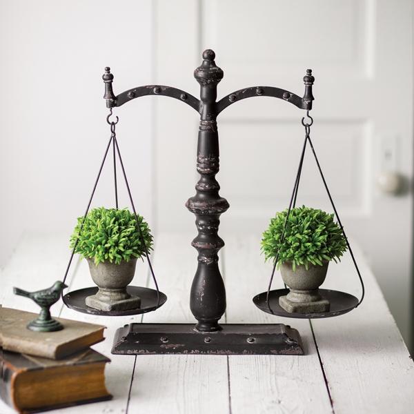 CTW Home Collection Antiqued-Black Metal Decorative Balance Scale