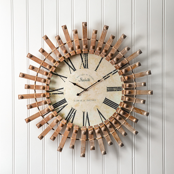 CTW Home Collection Mid-Century-Modern Wooden Wall Clock