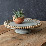 CTW Home Collection Metal Cake Stand with Boho Wood Ball Rim
