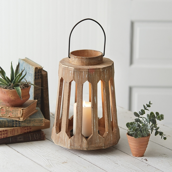 CTW Home Collection Distressed Wood Geometric Lantern w/ Metal Handle