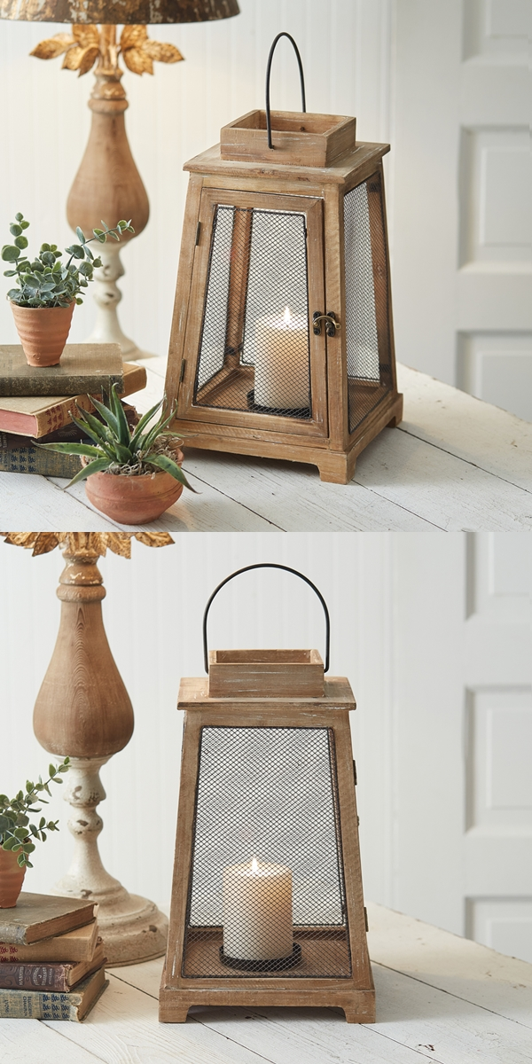 CTW Home Collection Tapered Sandalwood Lantern with Metal Mesh Panels