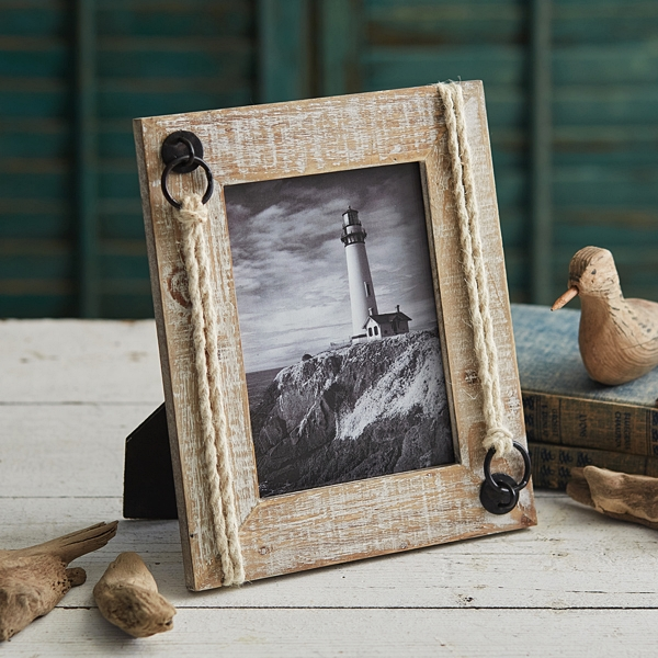CTW Home Collection Whitewashed-Driftwood and Jute 5x7 Picture Frame