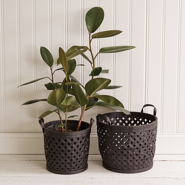 CTW Home Collection Set of Two 'Modern Boho' Black Bamboo-Wood Baskets
