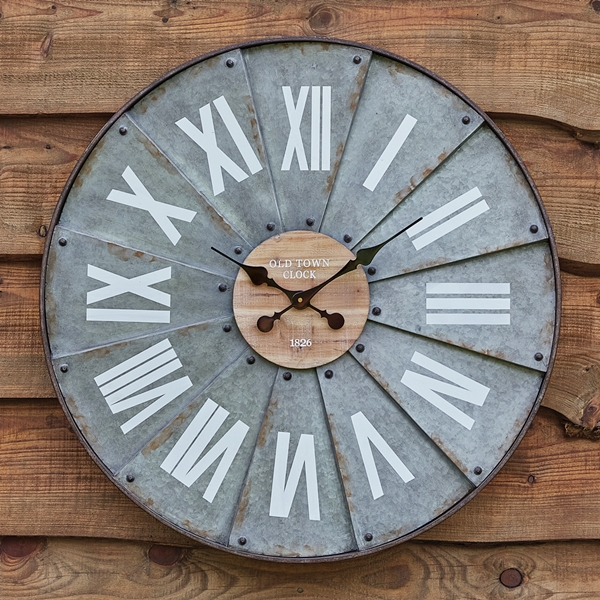 CTW Home Collection Galvanized-Metal Roman Numeral Windmill Wall Clock