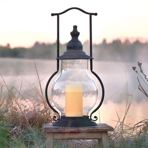 CTW Home Collection Dark Grey Steeple Lantern with Globe Chimney