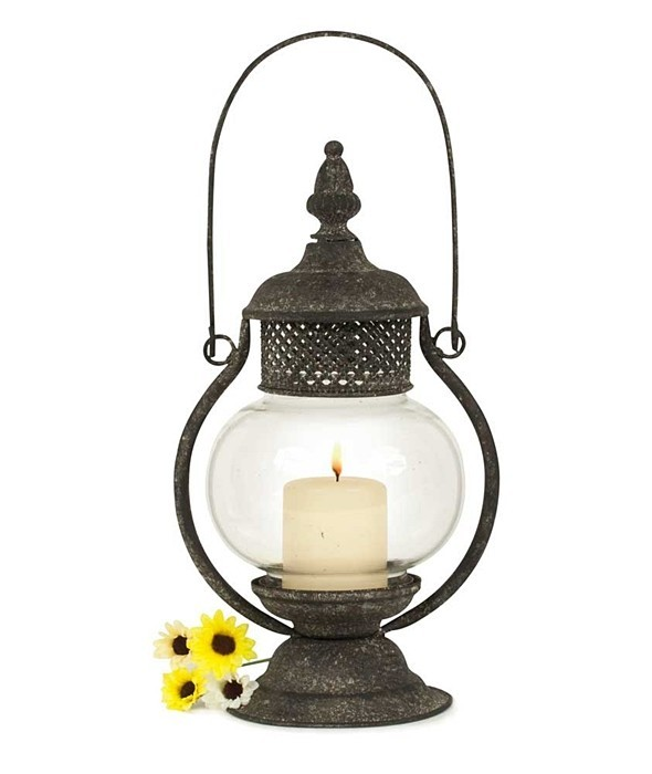 CTW Home Collection Sepia Candle Lantern with Glass Chimney