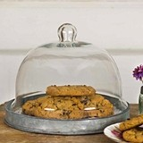 CTW Home Collection Medium-Sized Glass Dessert Cloche with Metal Base