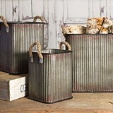 CTW Home Corrugated-Metal Storage Bins with Rope Handles (Set of 3)