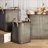 CTW Home Corrugated-Metal Storage Bins with Rope Handles (Set of 3)